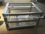 Plegable de metal de cuadrículas de almacenamiento de palets de jaula de alambre soldado