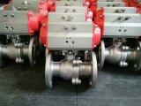 Q641f-16p/R 2PCの空気の作動させたフランジを付けたようになった球弁