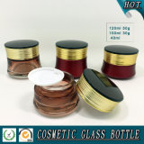 Gradiente de color marrón de vidrio cosméticos botella y jarra conjuntos