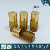 kleine bernsteinfarbige Glasphiole des wesentlichen Öl-3ml mit Aluminiumschutzkappe