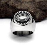 O deus Eyes a cor da prata do vintage do anel dos homens do aço inoxidável