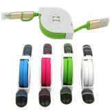 2in1携帯電話のための引き込み式USB充満ラインデータケーブル