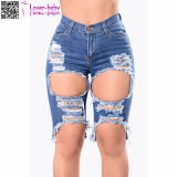 Hot Sale Fashion Blue Skinny Frayed Mini pantalon affligé Ladies Denim Shorts L539