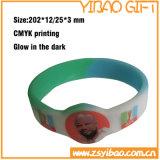 Kundenspezifischer umweltfreundlicher SilikonWristband mit Wort-Drucken (YB-SW-07)