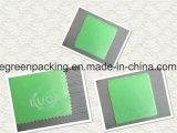 백색 로고 오른손 구석을%s 가진 녹색 Microfiber 렌즈 청소 피복