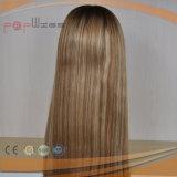 Parte superior da pele de cabelo brasileiro Kosher Judia Peruca (PPG-l-01223)