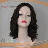 100% europea ondulado natural Virgen de Remy del pelo humano del doble nudos superiores de seda peluca