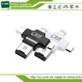 Leitor de cartão multifunções 4 em 1 unidade flash USB com tipo-C / USB Flash Drive / Android Port