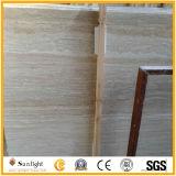 Travertino de piedra de mármol blanco beige para pavimentadoras, baldosas de suelo de losas