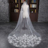 2017の白アイボリーの柔らかいヤーンのチャペルのカテドラルの結婚式のベール(夢100094)