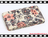 Moda Metal Frame Women Wallets Womens with Silk Flower Printing