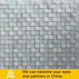 Schwarzes u. weißes Kristallglas-Mosaik mit Stein