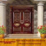 Portello intagliato esterno dell'entrata di legno solido della villa doppio (XS1-005)