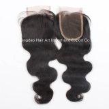 Chiusura umana della parte superiore del merletto dei capelli di Remy di alta qualità per le donne