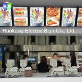 レストランのファースト・フードビール印のためにライトボックスが付いているパネルを広告するLEDメニューボード