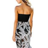Impreso en blanco y negro vestido de playa