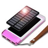 Bunte Firmenzeichen-Entwurfs-Sonnenenergie-Bank 10000mAh mit starker LED-3USB ausgegebener Solaraufladeeinheit