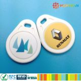 ABS micro colorido RFID Keychain de la impresión 13.56MHz NFC NTAG210 de la INSIGNIA