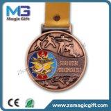 Médaille personnalisée d'enjeu de sport de marathon en métal 3D avec le placage en bronze