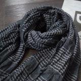 Großverkauf gesponnener Baumwollschal mit elastischem Streifen (HWBC020)