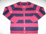 Men&acuteS Striped Wolljacke-Strickjacke