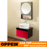 Oppein Gabinete moderno de la vanidad del cuarto de baño del roble rojo de la cereza (OP-P1130)