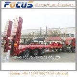 80t 반 유압 Lowbed 또는 낮은 갑판 낮은 로더 화물 트럭 트레일러