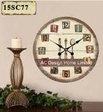 Decoración Vintage clásico antiguo diseño colorido de madera MDF de reloj de pared de la etiqueta de papel de impresión