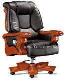 Cadeira executiva reclinável de couro preto de ponta