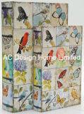 S/2 lindo diseño de las aves/Lienzo madera MDF Cuadro de la libreta de almacenamiento de impresión