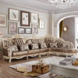 رف إيطاليا جلد أريكة مع خشبيّة أريكة إطار (807)