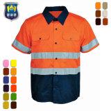 Vêtements de travail réfléchissant Hi-Vis 2 tonalités de foret de coton chemise de travail