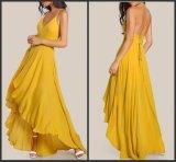 Backless a - линия платье вечера Y2009 желтого цвета платьев коктеила партии шифоновое Hi-Низкое