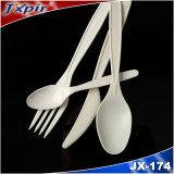 Biodegradierbares weißes Nahrungsmittelgeräteplastiklöffel-Gabel-Messer