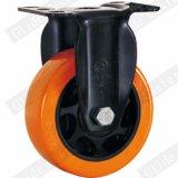 Mittleres Aufgabe PU-Gewinde-Stamm-Fußrollen-Rad (orange) (G3206E)