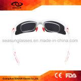 Gafas de sol protectoras polarizadas negras al por mayor del deporte al aire libre UV400 que completan un ciclo los vidrios de Sun corrientes de la pesca del montar a caballo