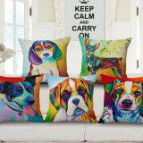 Bop a tampa impressa tecida de linho do coxim do algodão dos cães para o sofá (35C0166)