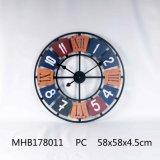 La decoración del hogar Metal y MDF Acabado azul Reloj de pared