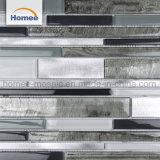 Nuevo diseño decorativo franja de color gris oscuro mosaico de vidrio y metal