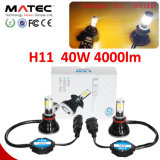 Phare de voiture à LED H1 H7 H11 H4 9005 9006 40W 9007 lampe de projecteur à LED