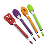 Cuisine en acier inoxydable coloré desservant les outils de cuisson des aliments en nylon des pinces