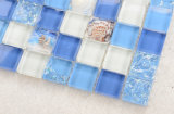 Azul y Blanco, el patrón de Shell de azulejos de mosaico de vidrio rajado