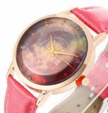 합금 상자 시계 진짜 가죽 시계 숙녀를 위한 귀여운 손목 형식 시계