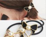 Bandes élastiques de cheveu de Bowknot brillant vénitien de perle d'alliage de cuivre