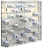 Acrylice negro único y soporte de visualización de acero del rectángulo de la pelota de golf