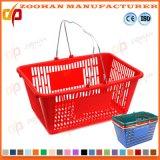 標準スーパーマーケットのプラスチック二重ハンドルは運ぶ買物かご(Zhb61)を