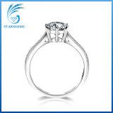 Rond Zirkoon 925 van de Kwaliteit van Aaaaa van de Besnoeiing van de Ster Echte Zilveren Ring