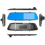 Gravador de vídeo duplo do espelho de opinião traseira da lente da tela de toque de 5 polegadas