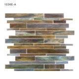 Decoração de azulejos Pavimentos Linear para casa de banho com mosaicos de vidro cinzento