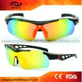 Équitation incassable de la lentille UV400 de vélo de PC d'une seule pièce promotionnel en gros de lunettes de soleil pilotant des glaces de Sun